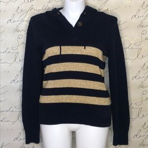 LRL Lauren Jeans Co. Navy/Gold Striped Hoodie XL